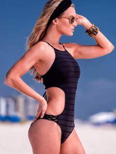 8b591d4540197 Sabz Luxury Swimwear Black Cut Off Monokini #fashion #summer2016 #monokini  #blacksuit Elite