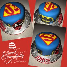 """Superheroes Cake! #superman #batman #spiderman  Sweet Serendipity by Bernice """"Edible ideas come to life"""" Cakes/Cookies/Cupcakes for all occasions! 305-934-2404 (Call or Text) #SweetSerendipitybyBernice #EdibleIdeasCometoLife Like us on Facebook or Instagram! https://lnkd.in/ePYCQ7K #doralcookies #cakes #bernicemirabal"""