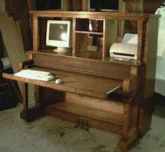 Old upright piano repurposed into a desk. http://media-cache-ec0.pinimg.com/236x/ef/f6/bc/eff6bcf3730351f69945eabffeb12aed.jpg