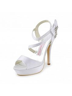 Peep toes ultra tacones de raso sandalias de novia con el arco de diamantes de imitación - EUR €63,62