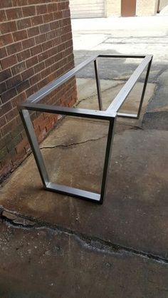 Trapezoid Steel Legs with 2 Braces, Model Dining Table Industrial Legs, Set of 2 Legs and 2 Braces Trapez Stahlbeine mit 2 Klammern Modell Slab Table, Dining Table Legs, Concrete Table, Dining Table Design, Wood Table, Steel Dining Table, Diy Tisch, Steel Table Legs, Metal Legs For Table