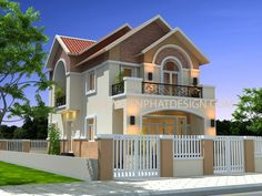50 Best Inspiring Small Two Story House Design Ideas Two Story House Design, House Front Design, Design Your Dream House, Small House Design, Small Cottage Designs, Small House Exteriors, Small House Floor Plans, Bungalow House Design, Spanish House