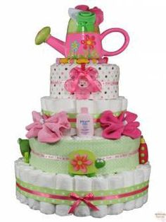 """A """"diaper cake"""" perfect baby shower gift!"""