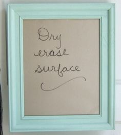 I have the perfect color paints (left over from painting my laundry room) for this project if we can buy cheap wooden frames...    Framed dry erase board in mint green and gold, for the pretty office. $45.00, via Etsy.