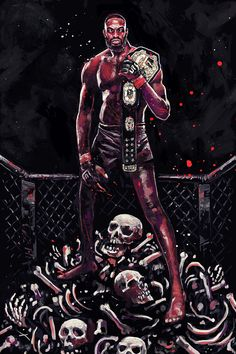 "gruesome artwork of Jon ""Bones"" Jones : if you love #MMA, you'll love the #UFC & #MixedMartialArts inspired fashion at CageCult: http://cagecult.com/mma"