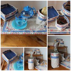 Conjunto Belmonte Azul: pormenor da saquinha do pão e da garrafa.
