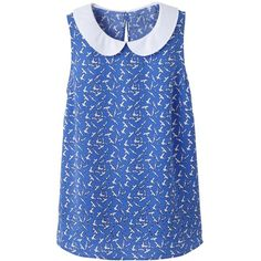 Simply Be Peter Pan Collar Top ($35) ❤ liked on Polyvore featuring tops, shirts, tank tops, bird, sleeveless button shirt, blue shirt, blue collared shirt, peter pan collar top and summer tank tops