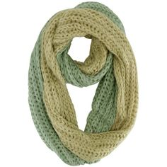 Mint & Beige Two-Tone Fuzzy Eyelash Circle Scarf (145 HRK) ❤ liked on Polyvore featuring accessories, scarves, mint green, infinity scarves, mint green infinity scarf, loop scarf, knit shawl and infinity scarf