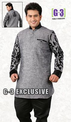 G3 fashions Grey Linen Short Pathani Kurta  Product Code : G3-MSP1034 Price : INR RS 2635