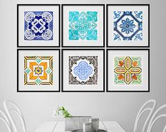 Vintage Blue Grey Tiles - Posters - Tile Style - Modern Art - Pack of 6 Posters  If you are the kind of person that are looking for a piece of art in your home or office wall this art poster is the perfect choice.  <-----------------------------------LINKS----------------------------------->  To view more Art that will look gorgeous on Your Walls Visit our Store: https://www.etsy.com/shop/homeartstickers  For more Art visit our MODERN POSTERS SECTION: https:/&#x...