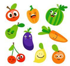 9 Lovely fruits and vegetables vector material Funny Vegetables, Fruits And Vegetables, Cute Illustration, Character Illustration, Veggie Puns, Fruit Clipart, Eating Carrots, Vegetable Illustration, Fruit Birthday