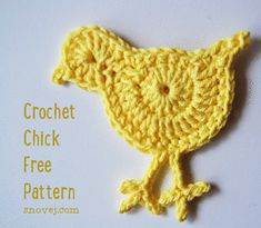 Here's a cute chick pattern I made up last night as a last minute decoration for our Easter table. It's fast and fun to make. Just three rounds! Crochet Chick Round Magic Circle, C. Crochet Applique Patterns Free, Easter Crochet Patterns, Crochet Birds, Crochet Motifs, Freeform Crochet, Love Crochet, Diy Crochet, Crochet Crafts, Crochet Toys