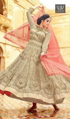 Celestial Resham Work Georgette Anarkali Salwar Kameez Make the heads flip the moment you dress up in this sort of a attractive beige georgette anarkali salwar kameez. This attire is nicely designed with embroidered and resham work.