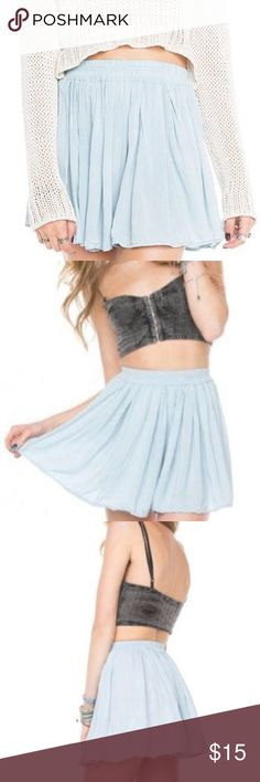 Brandy Melville Light Blue Luma Skirt Worn twice. In overall good condition, but it does get wrinkly very easily! ONE SIZE. Brandy Melville Skirts Circle & Skater