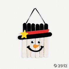 Wooden Snowman Banner Craft Kit - a super fun winter craft for kids. Recommended ages 5 & up.