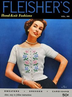 Hand Knit Fashions for women; pullover and cardigan sweaters, bolero, skirts, dresses Vintage Knitting Patterns Book for download Bust 30-36