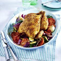 Zitronen-Knoblauch-Huhn mit Zucchini und Tomaten Rezept