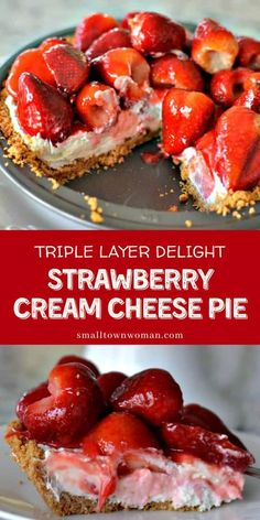 This easy strawberry pie recipe with graham crust is a family-friendly dessert perfect for gatherings! It's a triple layer pie recipe that starts with the crust, sweetened cream cheese filling, and lightly glazed fresh strawberries. It is the perfect recipe to make this summer! Strawberry Cream Cheese Pie, Easy Strawberry Pie, Strawberry Recipes, Strawberries And Cream, Canned Strawberry Pie Filling Recipe, Recipes With Fruit, Strawberry Yum Yum Recipe, Recipes With Fresh Strawberries, Stawberry Pie