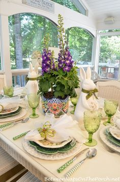 Spring Table Setting with Delphinium & Bunny Centerpiece