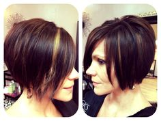Chin length textured bob with shattered ends ~ Chestnut brown with peek-a-boo highlights.