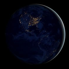 "The night lights of North and South America is one frame in the NASA's ""Black Marble"" series, which is based on data from the Suomi NPP satellite. (NBC News; photo: NASA Earth Observatory)"