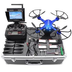 """""""Last-Minute Drone with HD Camera, Potensic RC Drone Quadcopter RTF Altitude Hold UFO with Stepless-speed Function, Camera& FPV LCD Screen Monitor & Drone Carrying Case (Red) - Looking for """"Last-Minute and """"Year-End and Drones, Drone Quadcopter, Drone With Hd Camera, Slr Camera, Nikon Cameras, Video Camera, Buy Drone, Dslr Photography Tips, Aerial Photography"""
