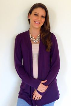 I love cardigans, but all mine are from Target... I love the rich shade of royal purple.