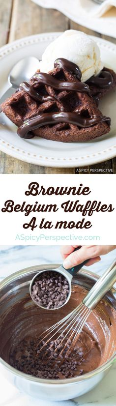 Amazing Chocolate Chip Brownie Belgium Waffles a la Mode on. Amazing Chocolate Chip Brownie Belgium Waffles a la Mode on www. Just Desserts, Delicious Desserts, Dessert Recipes, Yummy Food, Tasty, Crepe Recipes, Easy Belgian Waffle Recipe, Chocolate Chip Brownies, Chocolate Chocolate