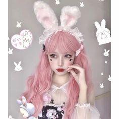 Kawaii Wigs, Kawaii Faces, Kawaii Cute, Bunny Ears Headband, Ear Headbands, Kawaii Hairstyles, Cute Hairstyles, Kawaii Makeup, Bunny Makeup