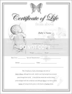 Remembrance - Certificate Of Life - Pregnancy, Infant Loss, Miscarriage.  Pencil Portraits