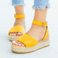 Platform Sandals - How To Build A Remarkable Shoe Wardrobe Cute Shoes, Me Too Shoes, Wedge Shoes, Shoes Heels, Yellow Sandals, Jamel, Minimalist Shoes, Sandals Outfit, Womens Fashion