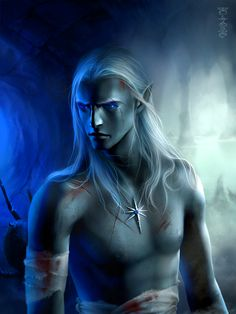 This handsome male Drow has been wounded in battle.  Drow are from the Forgotten Realms.  In other settings, they are Dark Elves.