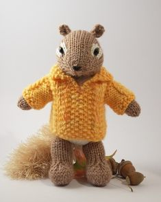Knit an adorable little chipmunk with a cable pullover. This is an intermediate level pattern, with a variety of increase and decrease stitches,