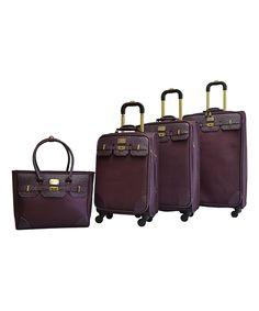 Look at this #zulilyfind! Plum Greenwich Four-Piece Spinner Luggage Set by Adrienne Vittadini #zulilyfinds