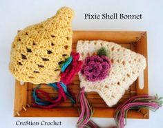 free crochet pattern pixie shell bonnet. vintage sweet