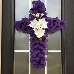 Items similar to Easter Wreath: Cross Wreath; Burlap Easter Cross Door Hanger, Purple Cross Wreath with Lily Center on Etsy - stuff - Burlap Deco Mesh Wreaths, Door Wreaths, Mesh Garland, Diy Wreath, Wreath Burlap, Tutu Wreath, Wreath Making, Wreath Crafts, Wreath Ideas