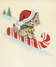 VINTAGE CHRISTMAS CAT SLEDDING ON CANDY CANE HAT BELLS SCRAPBOOKING COLOR PRINT
