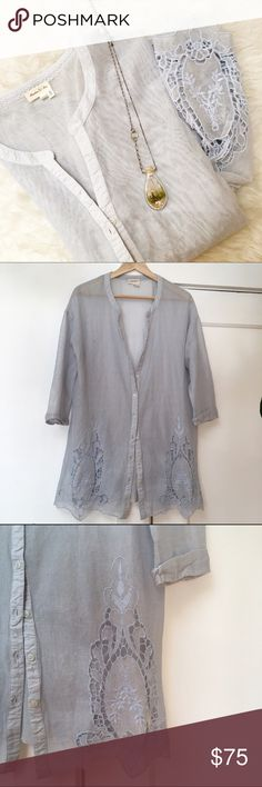 Anthropologie Tunic NWOT Lovely Anthropologie light blue tunic, NWOT. Light weight and summer ready. Three quarter length sleeves, button down. Pretty crochet design on front and back of top. Oversized loose fit. There are a few faint pulls in fabric that seem intentional, can't remember if they were there when I purchased this from Anthro. New without tags, never worn. Anthropologie Tops Tunics
