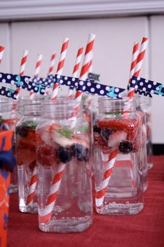 Trevor's Nautical First Birthday #nautical #party Sparkling water, Sierra Mist, fruit, & mint.