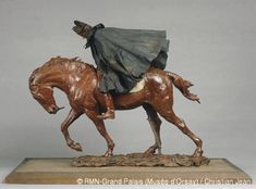 """Ernest Meissonier: """"The Traveller"""", Between 1878 and 1890 Statuette made of wax, fabric and leather, Dimensions: H. 47.8; W. 60; D. 39.5 cm, Current location: Musée d'Orsay, Paris, France."""