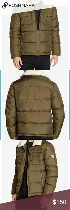 NWT Mens quilted jacket with fleece collar NWT Water resistant  Fleece collar Machine washable Body/polyester, filling/down  Full zip closure Guess Jackets & Coats Puffers