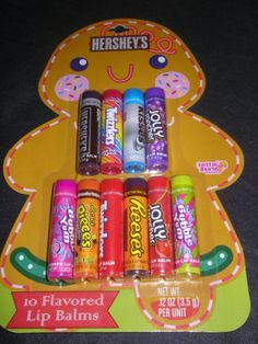 Lotta Luv Hershey's 10 Flavored Lip Balm Gloss Chap Stick Xmas Gingerbread Card | eBay