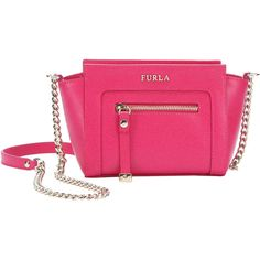 Furla Gloss Pink Leather 'ginevra' Mini Trapeze Shoulder Bag... ($199) ❤ liked on Polyvore featuring bags, handbags, shoulder bags, gloss pink, handbags shoulder bags, leather shoulder bag, chain shoulder bag, leather handbags and pink shoulder bag