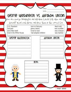 George Washington & Abraham Lincoln Reader & Sorting Sheets
