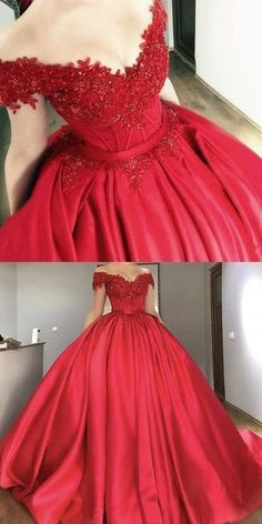 Red Ball Gown Off Shoulders Wedding Dress Prom Quinceanera Dress. Red Ball Gown Off Shoulders Wedding Dress Prom Quinceanera Dresses on Storenvy Lace Ball Gowns, Ball Gowns Prom, Ball Gown Dresses, 15 Dresses, Pretty Dresses, Evening Dresses, Red Sweet 16 Dresses, Elegant Dresses, Prom Ballgown
