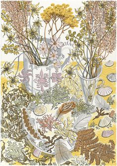 """Angie Lewin's """"Nature Study, Late Summer"""", a screen print commissioned by Pallant House Gallery to celebrate their exhibition 'David Jones - Visions and Memory' http://www.stjudesprints.co.uk/collections/angie-lewin/products/nature-study-late-summer"""