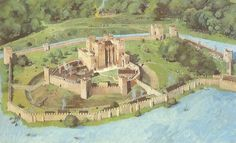 Reconstruction of Kenilworth Castle as it may have appeared in the 13th Century.