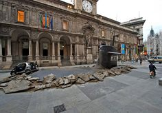 Submarine crashes through Milan street - Insurance ad campaign