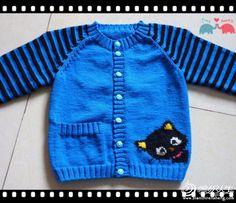 mavi renkli kedi desenli hırka modeli