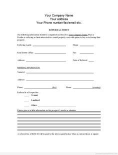 Sample Printable Referral Sheet For Realtors Form Online Real Estate Forms Medicine